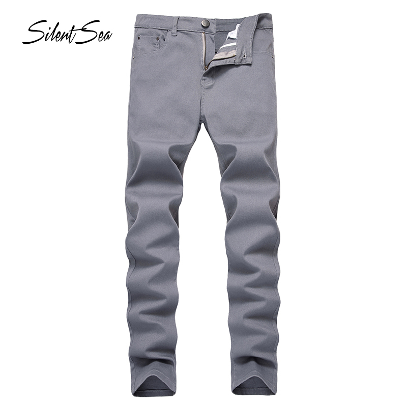 Silentsea Jeans Men Youth Trend Slim Stretch Washed Grey Pants Premium Elastic Cotton Fashion Foot Jeans Plus Size 28-42