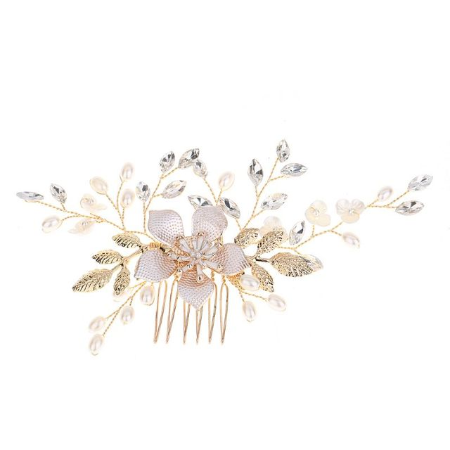Bride Comb Golden Leaf Floral Pearl Imitation Wedding Party Headdress Headwear Accessories Vintage Delicate Jewelry Decor W77