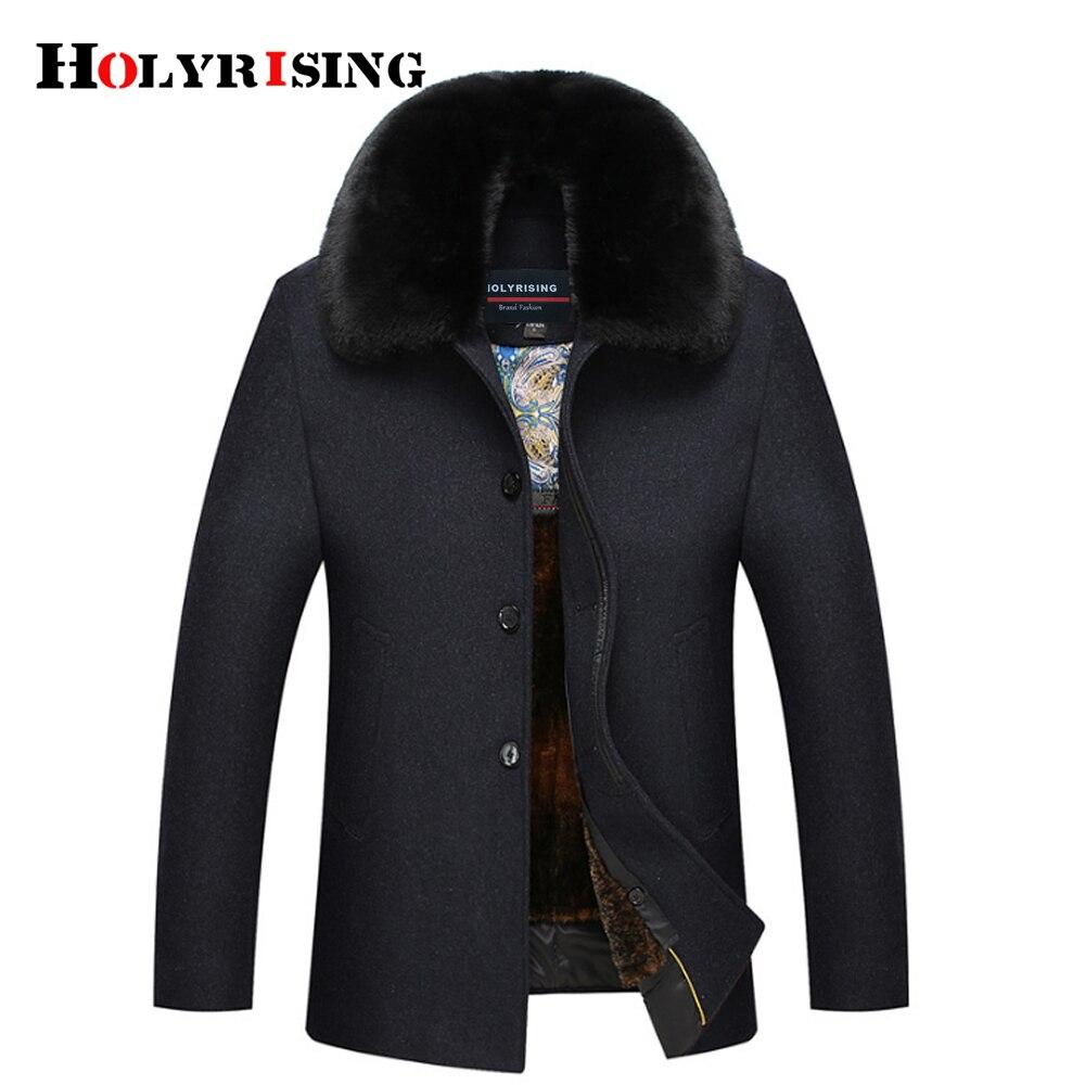 Men Wool Jackets Men Casual Warm Snow Coats Winter Men's Woolen Jackets Movable big Fake fur collar #18215 Holyrising