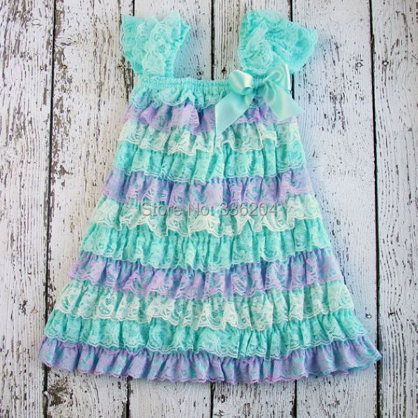 Blue Flower Petti Ruffle Lace Girls Dress-in Dresses from Mother ... 9625e75131bc