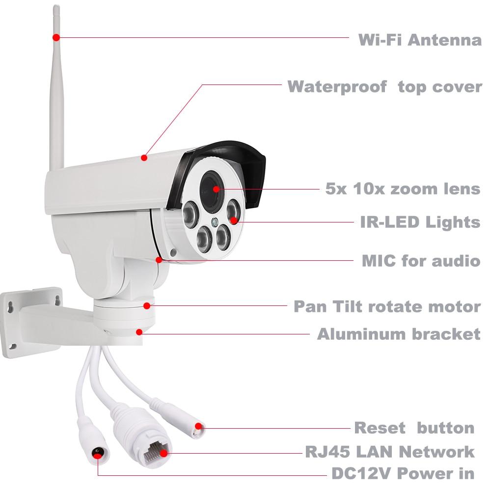 HD 1080P Bullet PTZ IP-камера Wi-Fi 5X 10X зум - Безопасность и защита - Фотография 2