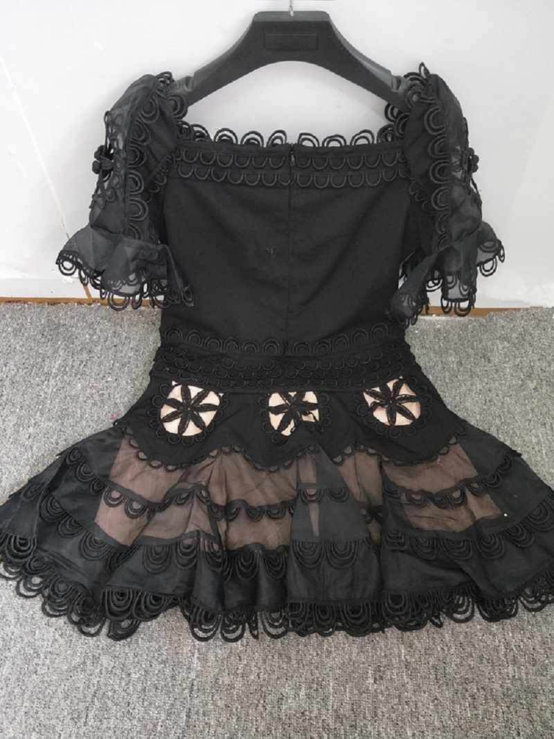 Mode Drapée De Grande Floral Manches Noir Taille Flare Évider Cou Slash Sirène Black Vêtements Mini 2018 white Été Robe Blanc Robes cF47wqZx8a