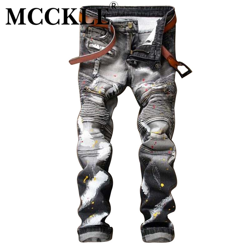 ФОТО MCCKLE  Men's Ripped Biker Jeans Pants With Zippers Painted Distressed Moto Denim Joggers For Male Slim Fit Printed Jeans Pants