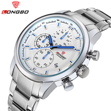 2016 Hot Seller LONGBO Luxury Brand Sports Army Stainless Steel Waterproof Multifunction Mens Wristwatches Analog Watches