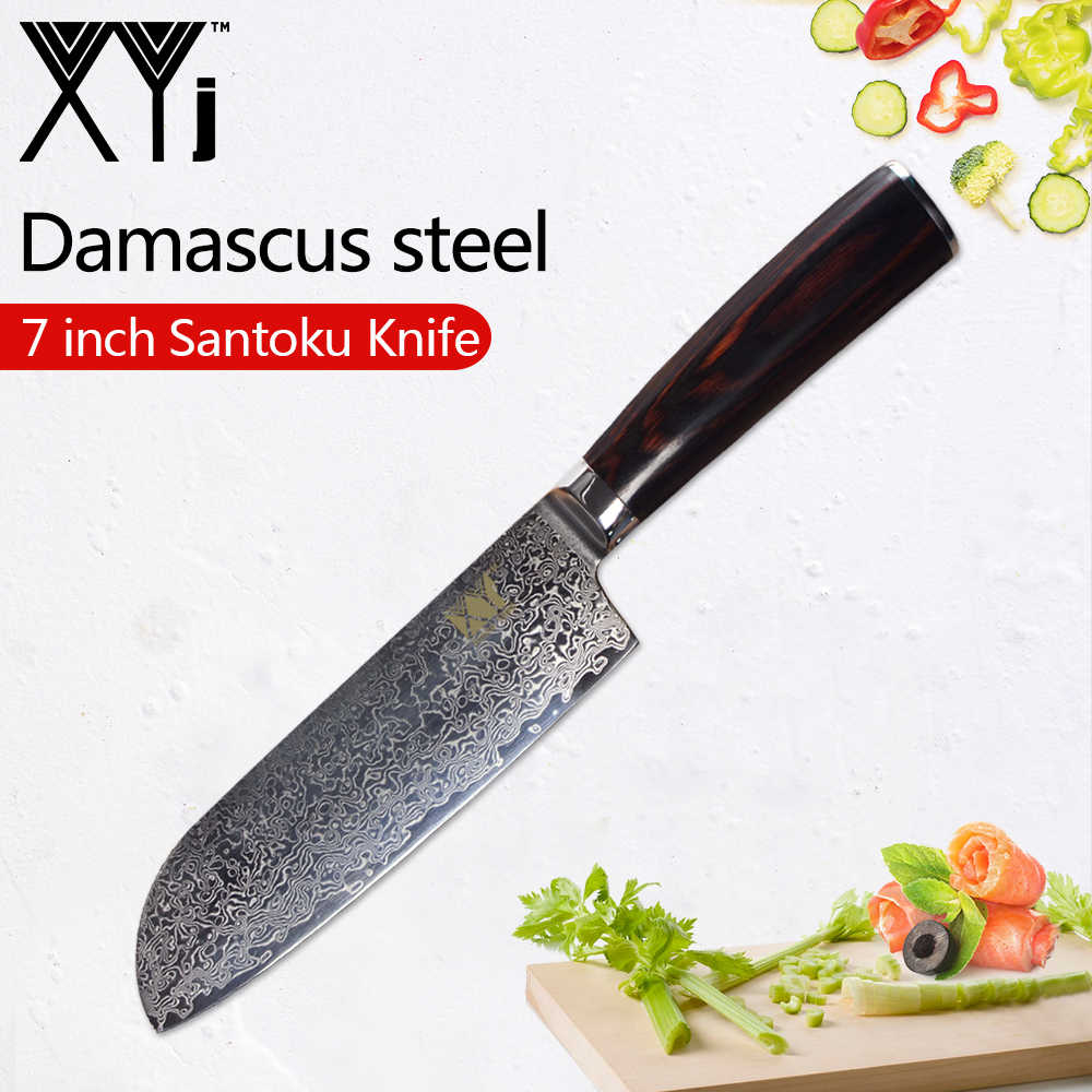 XYj Damascus Japanese Kitchen Knives One Piece Paring Utility Santoku Chopping Chef Slicing VG 10 Damascus Steel Cooking Knife