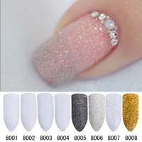 8Pcs Set Holo Glitter Powder Shiny Sugar Glitter Dust Powder Nail Art Manicure Decoration