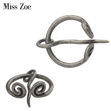1 piece Norse Viking usia perak Spiral twisted bros pin untuk syal syal mantel Jubah Bros Pins Retro vintage pria's perhiasan(China)