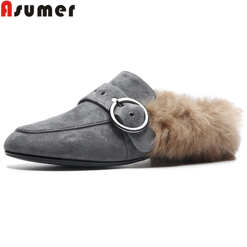 ASUMER 2018 fashion autumn shoes womsn round toe shallow casual flat shoes suede leather shoes mules women flats black eiswelt fashion office round toe women shoes flat shoes spring autumn casual flats women shoes color purple black pink ezjf109