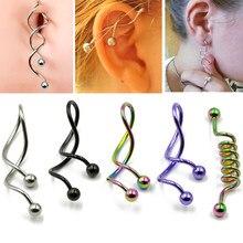 BOG-1PC Twist Spirale Ohr Industrie Spirale Nabel Bauchnabel Ring Piercing Barbells Nombril Ombligo Ohrring Piercing Jewelry14g