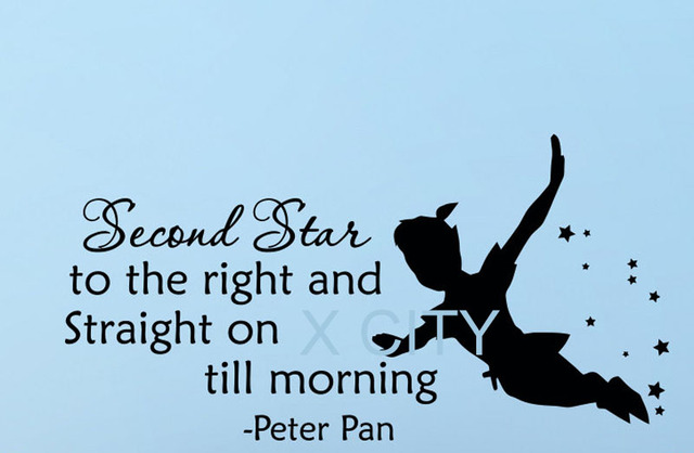 Peter Pan Silhouette Fairy Tale Cartoon Wall Decal Quote Second Star