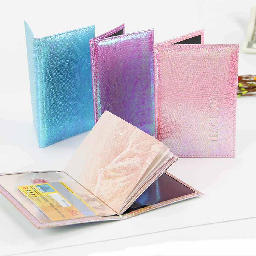 Iridescence Passport Cover Leather Women Travel Wallets Cover On The Passport Leather Protector Travel Passport Holder