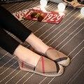 Novo 2017 Primavera Sapatos para As Mulheres Alpercatas Sapatas de Lona Xadrez Feminino Sapatos Baixos de Lona Mulher Sapatos Pescador Deslizamento em Cáqui/azul