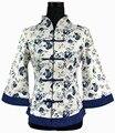 El Envío Gratuito! blanco azul de Primavera Chino Tradición de la Mujer Capa de la Chaqueta de Lino de Flores más el tamaño sml xl xxl xxxl 4xl 5xl 2218-2
