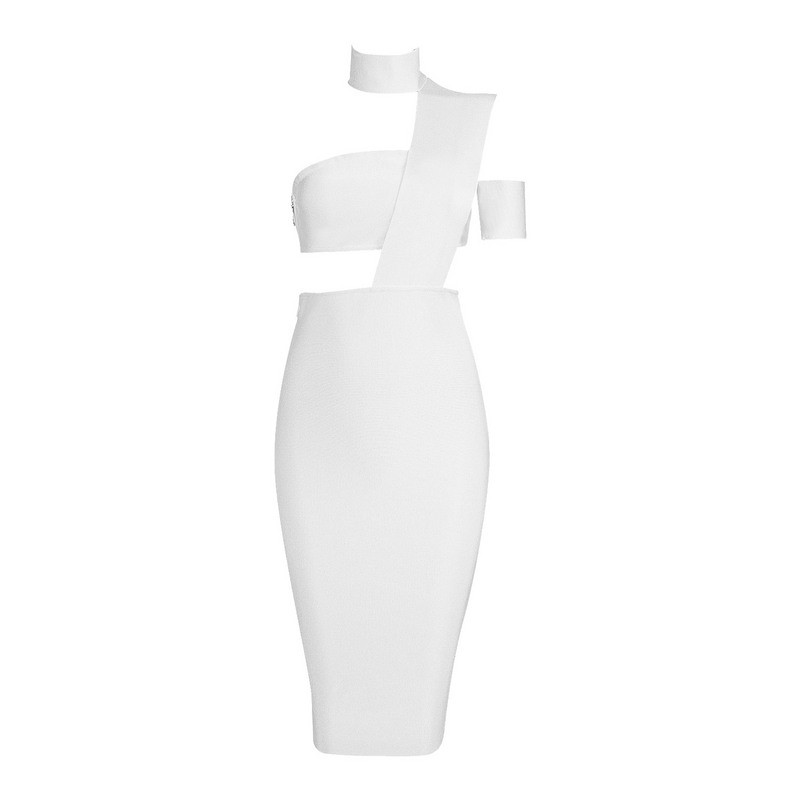 Free Shipping New Summer Dress 2016 Sexy Black Bandage Dress Cut Out Nude White Available