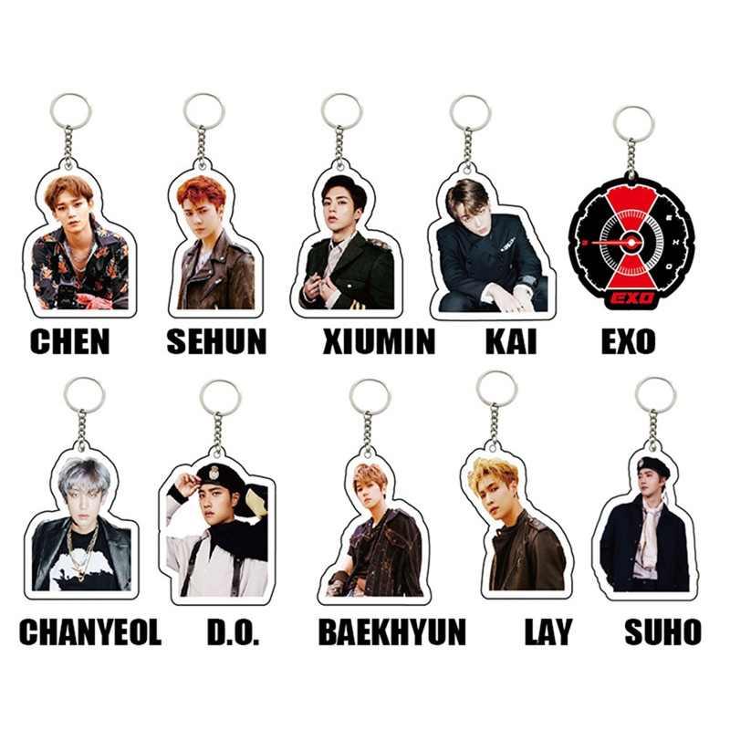 Kpop EXO חברי אופנה Keyring מפתח מחזיק לא לבלגן שלי טמפו חמוד אקריליק Keychain להניח Sehun תיק תליון קסם