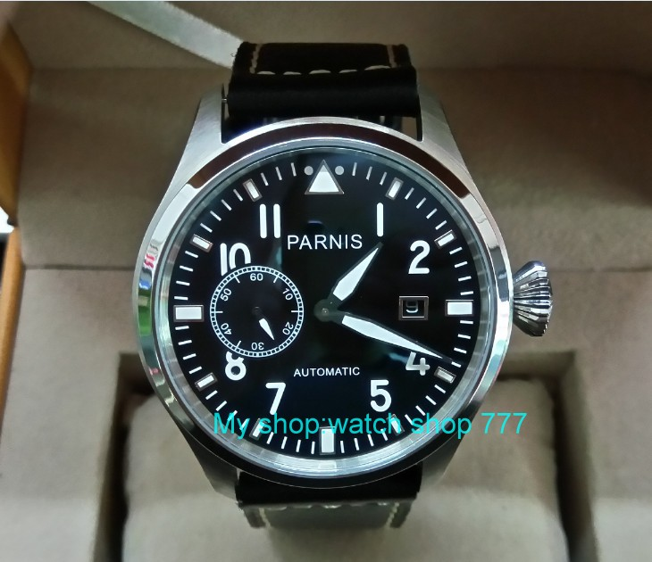 47mm big pilot PARNIS Black dial Automatic Self-Wind movement Auto Date men watches luminous Mechanical watches df72A tevise fashion men automatic mechanical watches self wind black silver stainless steel luminous auto date day wristwatches 8377