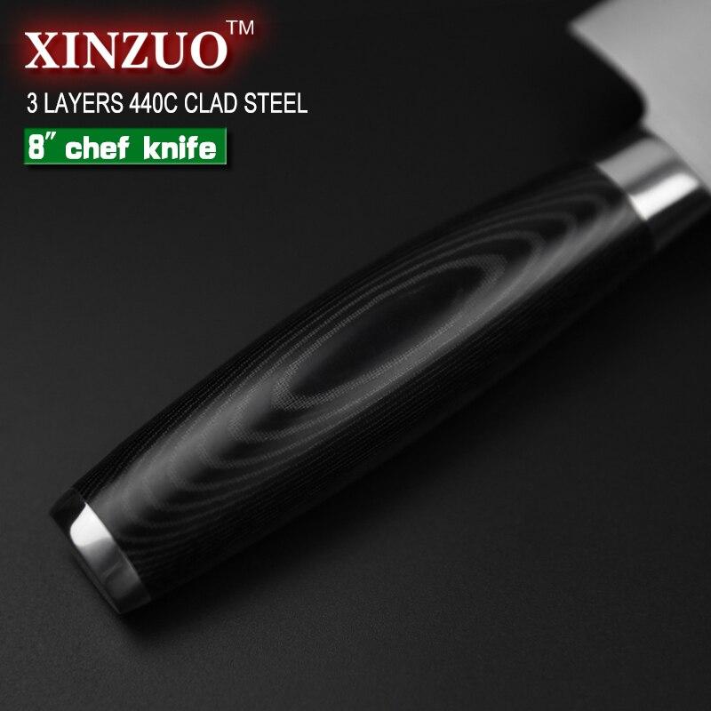 Xinzuo 8 Zoll Kochmesser Drei Schichten 440c Verkleidet Stahl Kuche