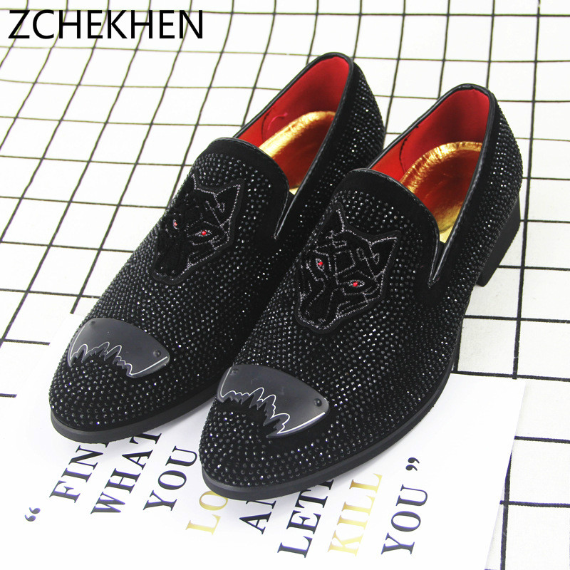 fe456d9616136 Europe bling Flat Leather Shoes Rhinestone Fashion Mens Loafer Dress Shoes  Men Casual Diamond Business Office