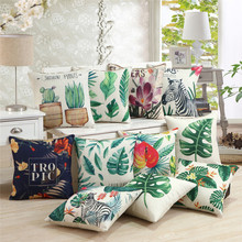 45x45cm Tropical Plant Print Cactus Monstera Cushion Cover Linen Throw Pillow Case Sofa Seat Home Decorative gold leaves print pillow cover home cotton pillowcase cushion cushion decorative cushions for sofa seat covers throw pillow case