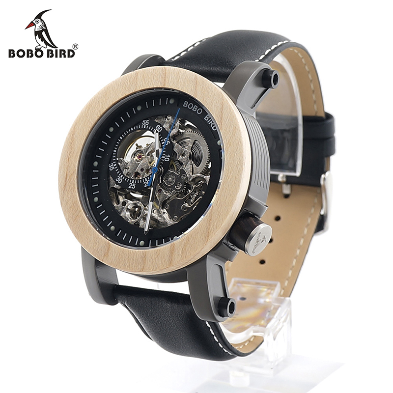 BOBO BIRD Mens Transparen Semi-automatic Mechanical Wooden Bezel Wristwatch With Leather Band in Wood Box bobo bird antique mens wood watches steel case wooden bezel wristwatch with wooden band in gift box