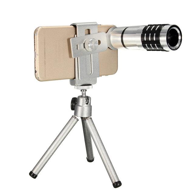 Universal Clip Teléfono Lente de la Cámara Teleobjetivo De 12X Zoom Telescopio Con Montaje Mini Trípode Soporte para Teléfono Tapa de la Lente Para El Iphone