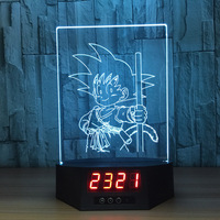 Dragon Ball Z Little Son Goku 3D Lamp Figures Perpetual Calendar Time Night Light Colorful Changing Table Lamp For Kids