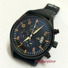42mm parnis black dial Orange Marks PVD case Classic vintage style luminous Quartz movement chronograph men's Wristwatches