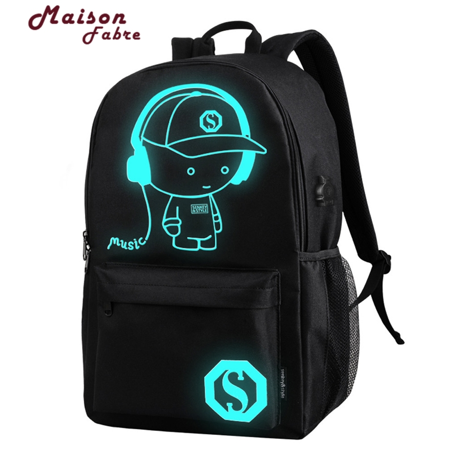 Drop Shipping Noctilucent Cartoon Men Womens Teenagers School Backpack High-Quality Oxford Night Fluorescent Light Bags 908#23