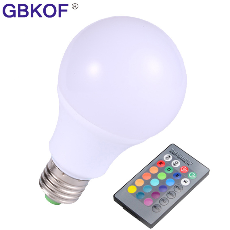 RGB LED Lamp E27 10W LED RGB Light Lampada LED Bulb AC85-265V SMD5050 16 Colors Change with IR Remote Controller for Decoration