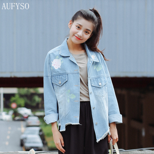 f50af2dda9fcd AUFYSO Jeans Jacket Women 2017 Autumn Korean Style Cute Rose Floral Printed  Frayed Long Sleeve Denim Jacket Coats C75
