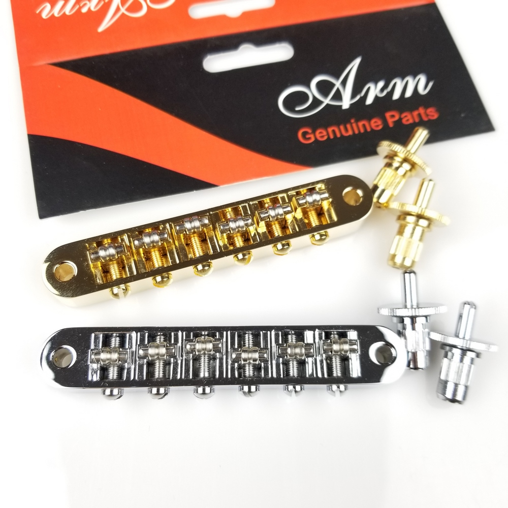 1 Set Chrome Silver Gold Roller Saddle Tune-O-Matic Electric Guitar Bridge For LP SG Electric Guitar ( BM003 ) MADE IN KOREA