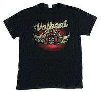 Giá rẻ Printed T Shirts O-Cổ Men Volbeat Dark Skull Wings Hình Ảnh Ngắn Tay Áo Thường Xuyên Tee Shirt
