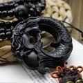 Alte Chinesische mythologie schwarz drache ornamente Holz Carving Statue Skulptur Amulett Auto Anhänger SW015B #30