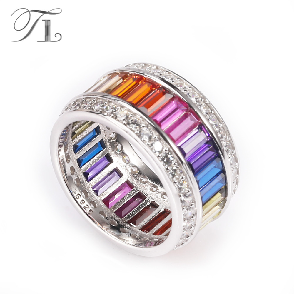 TL 925-Sterling-Silver Rings For Women Round Rings Inlay Handmade Cut Rainbow Cubic Zircon Gradient Color Rings Silver Jewelry 6pcs of stylish color glazed round rings for women