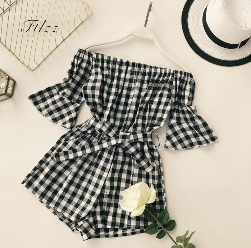 Elegant Woman Black White Plaid Playsuits 2018 New Summer Short Sleeved Off The Shoulder Short   Jumpsuit   Women Casual Romper