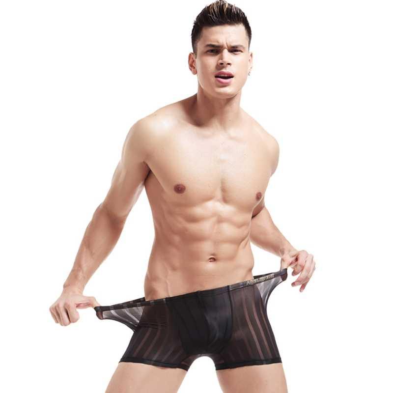 Homens roupa interior de Malha Perspectiva Respirável Boxer Shorts Verão Fresco Sexy Transparente Net Listrado Dos Homens Pugilistas do Roupa Interior 2018