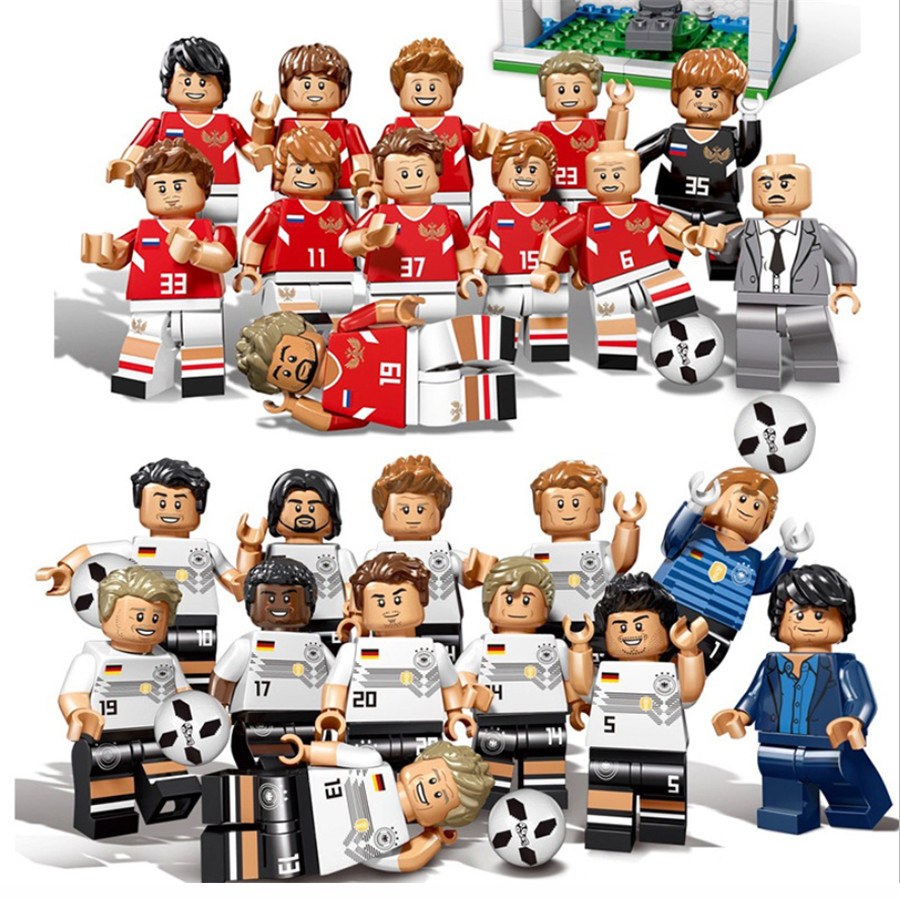2018 World Football Team Soccer Captain Player Figures German Russia Building Blocks Compatible Legoe City Figures Toys For Kids стоимость