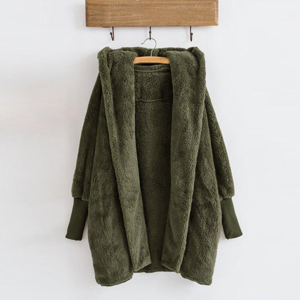 Women Hooded Coat Winter Warm Plush Pockets Cotton Coat Outwear Casual Hoodies Jacket Overcoat Top female outerwear 9