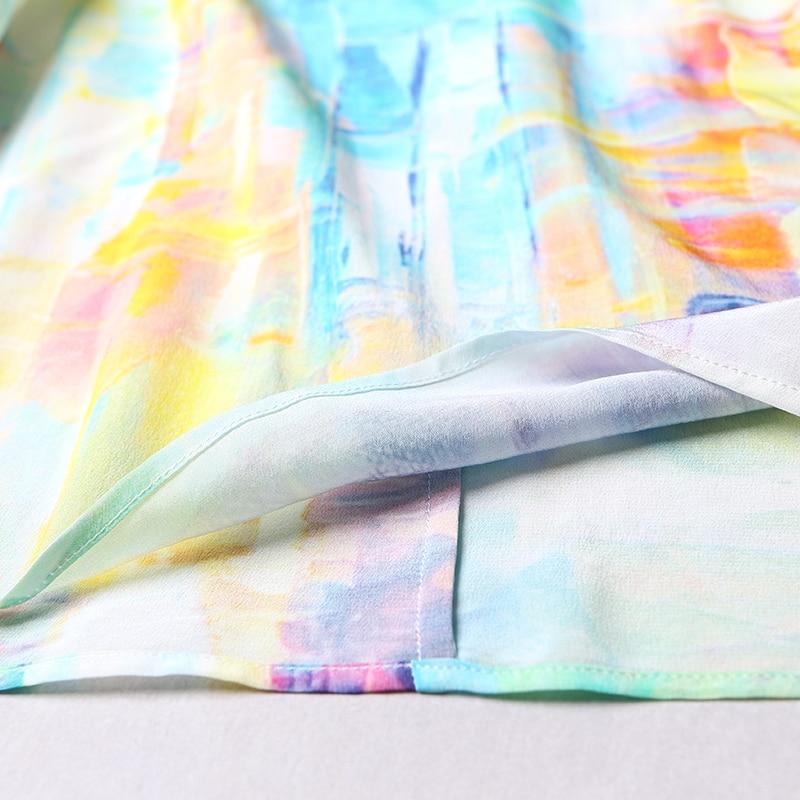 VOA 2018 Summer New Silk Chiffon V neck Short Sleeve Casual T Shirt Fashion Graffiti Plus Size Loose Print Women Tops B6983 - 5