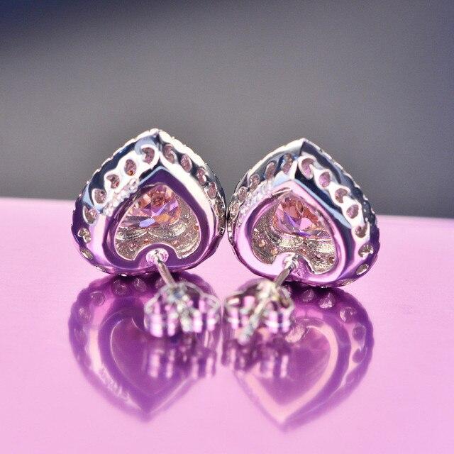 Orecchini della vite prigioniera Per Le Donne S925 Sterling Silver Gioielli Pink Love Cuore Brincos Da Sposa Fidanzamento Romantico Bigiotteria