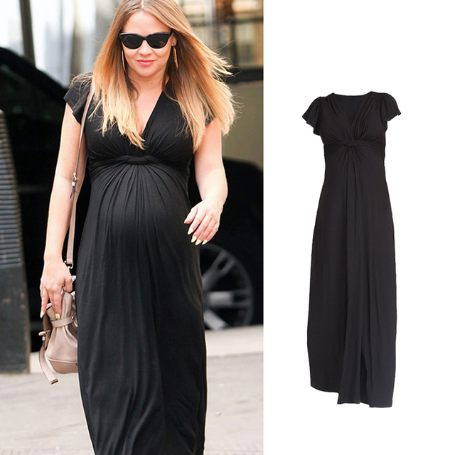 884f88dc6 Maternity Long Dresses Elegant Nursing Dress Lycra Maternity Clothes For Pregnant  Women Pregnancy Clothing for photo shoot
