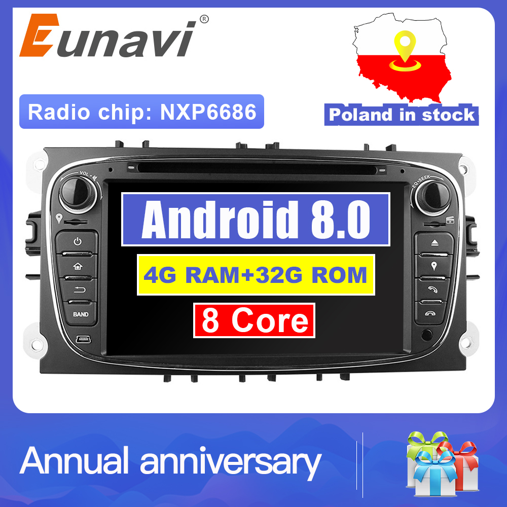 Eunavi 2 Din 7 Android 8.0 Octa Core lecteur dvd De Voiture DAB + WiFi 4G Canbus En Ligne Carte GPS navigateur pour Ford Focus II Mondeo S-Max