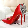 Free shipping fashion pointed toe Silk pumps women Shining diamond shoes heels10.5cm