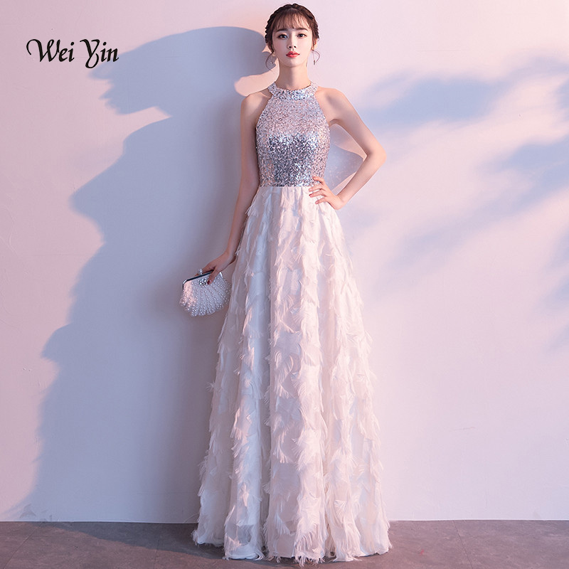 weiyin Elegant   Evening     Dresses   A Line Sleeveless White Lace   Evening   Round Neck Long   Dresses   Women 2019 New Arrival Gowns WY1097