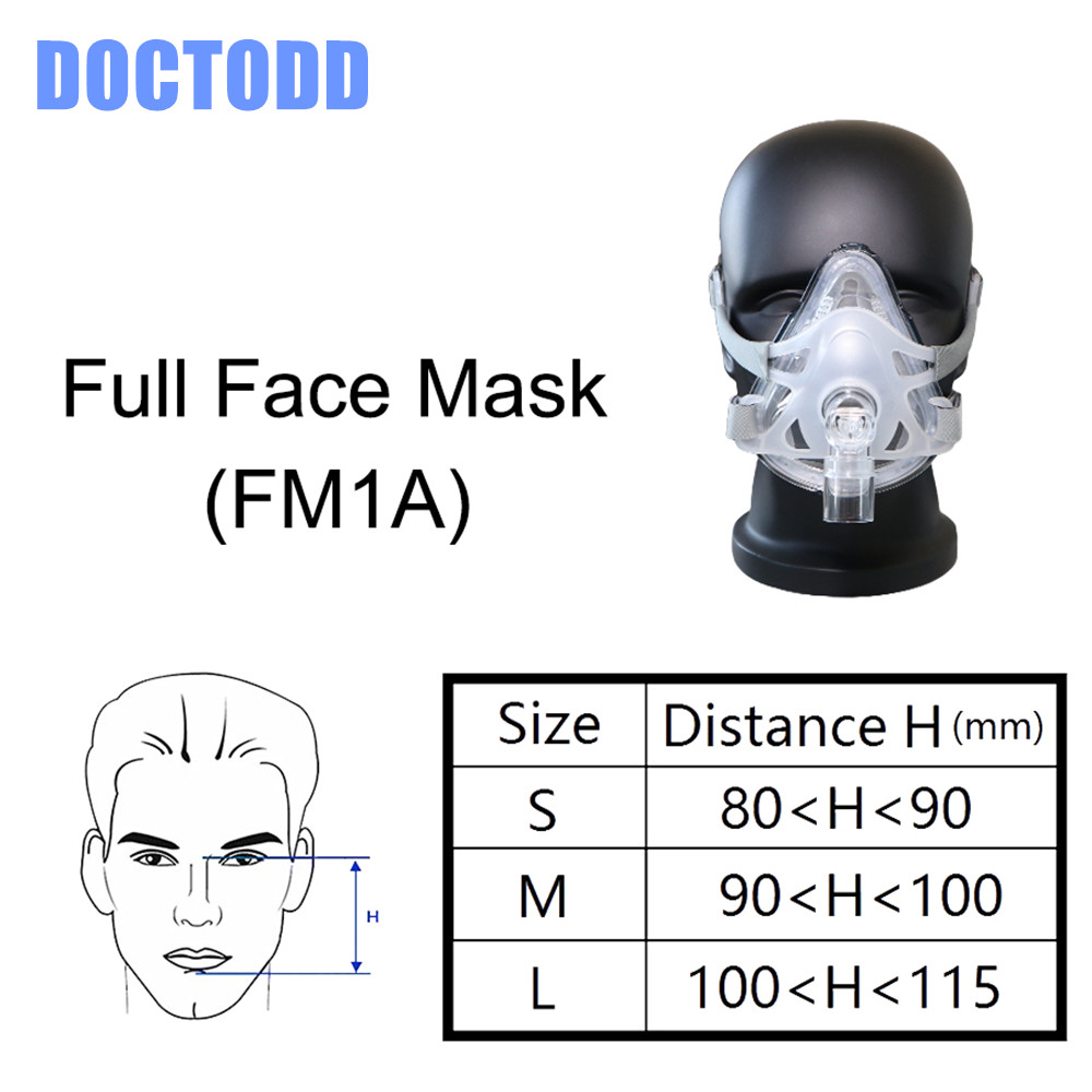 Doctodd F1A Full Face Mask For CPAP Auto CPAP BiPAP Respirator 3 Size S M L