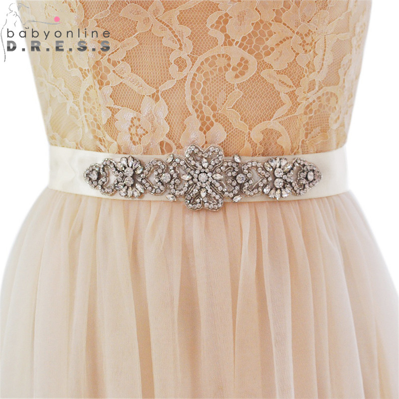 Sash Wedding-Belt Crystals Ribbon Satin Rhinestone Novia Cheap Cinturon Hand-Made Babyonline