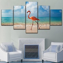 Canvas Wall Art Poster Home Decor 5 Piece Animal Flamingo In Beach Paintings Modern HD Printing Type Pictures Framework