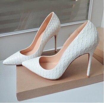 Zapatos de tacón alto de piel de cocodrilo blanco para mujer, zapatos de tacón de aguja de 12 cm, zapatos de vestir de fábrica, zapatos de oficina para mujer con foto Real