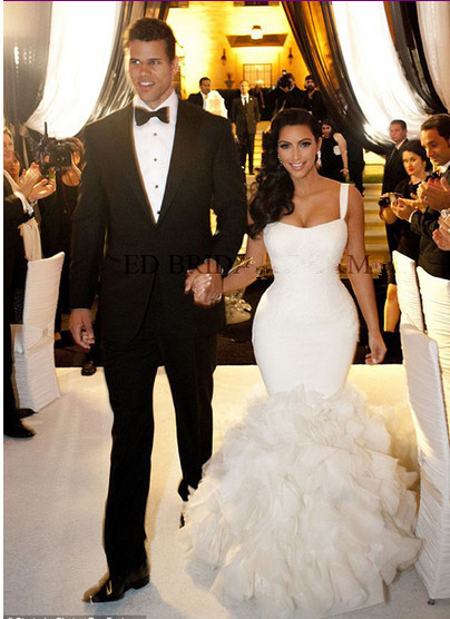 Kim Kardashian S Wedding Dress Vestidos Lace Mermaid Celebrity Cakes