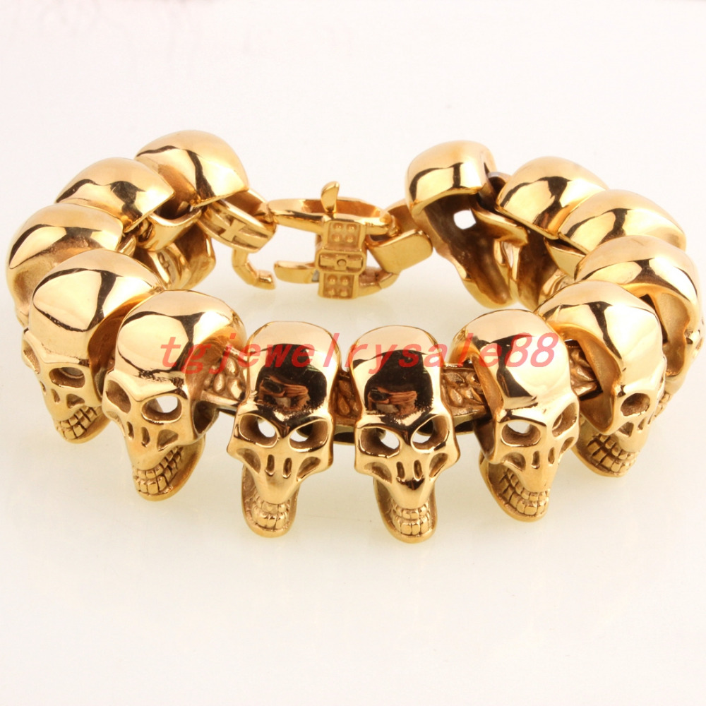 134g New Fashion 25mm Wide Gold Stainless Steel Skull Skeleton Head Strong Mens Casting Bracelet Jewelry 8.66